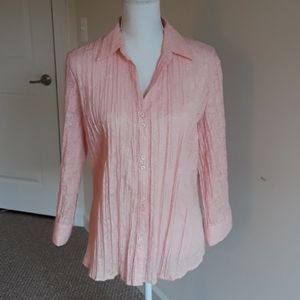 APT 9: Peach Embroided Button Down Shirt
